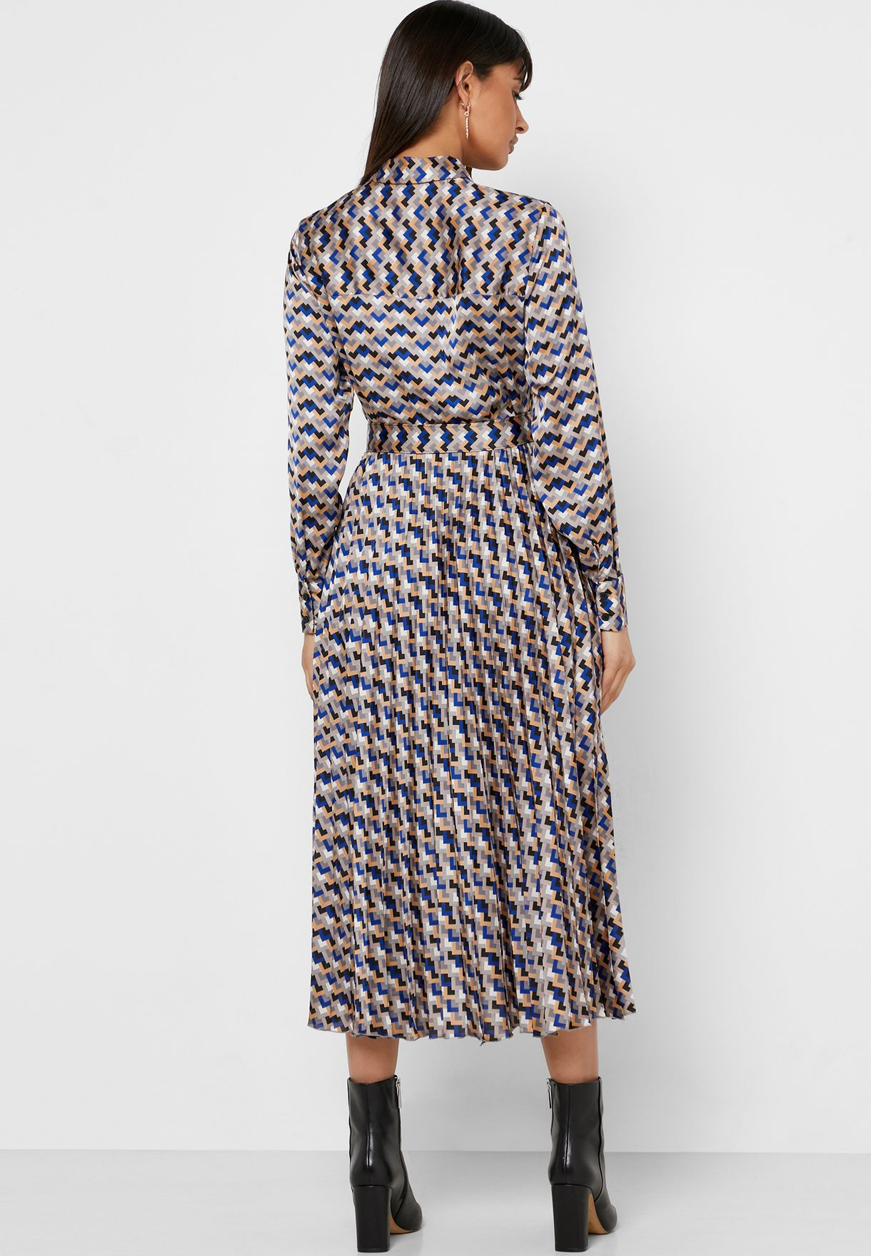 Printed Placket Plisse Dress