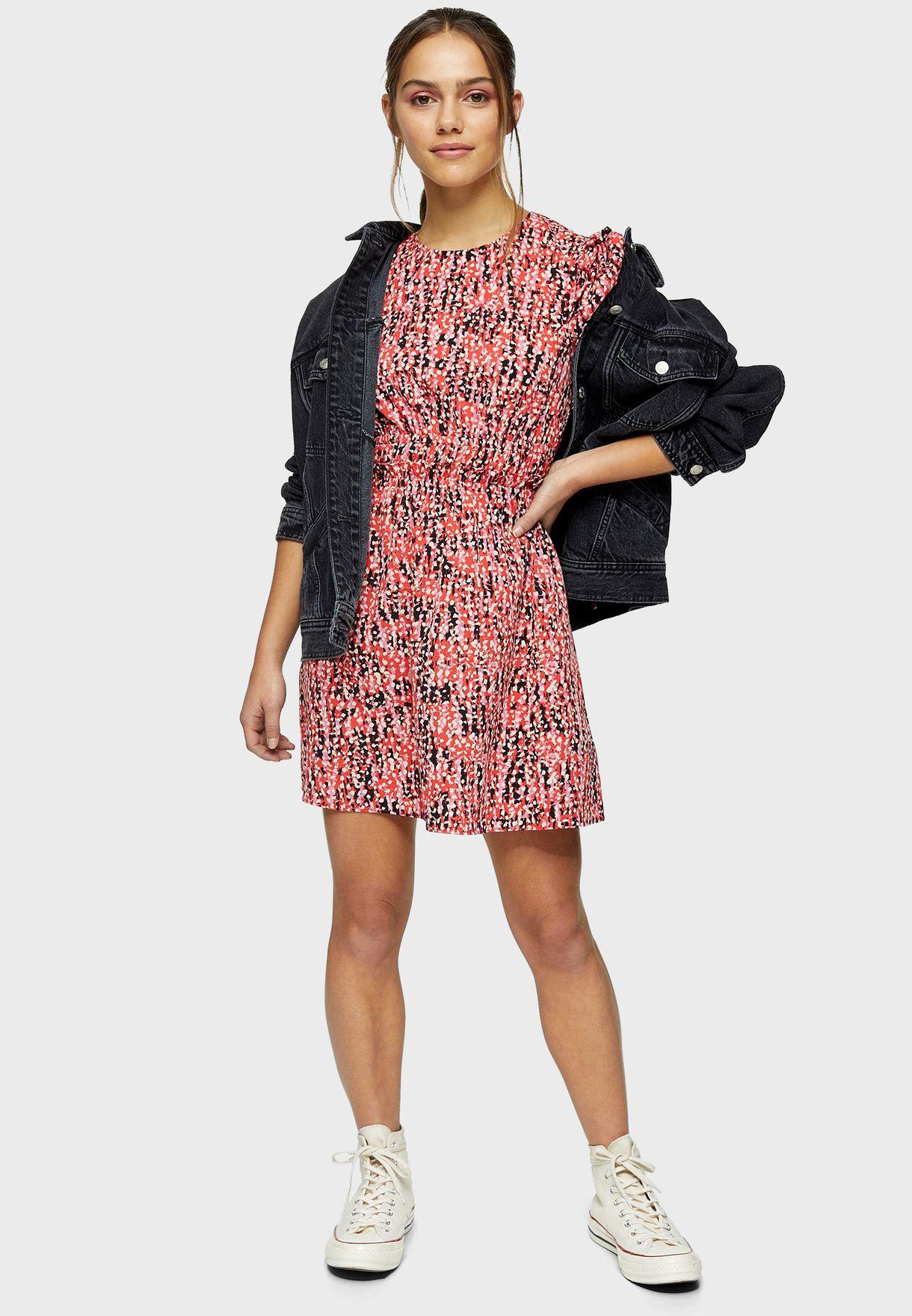 Animal Print Puff Sleeve Dress