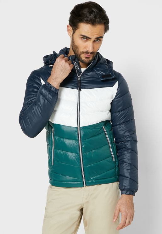 Roll Color Block Puffer Jacket