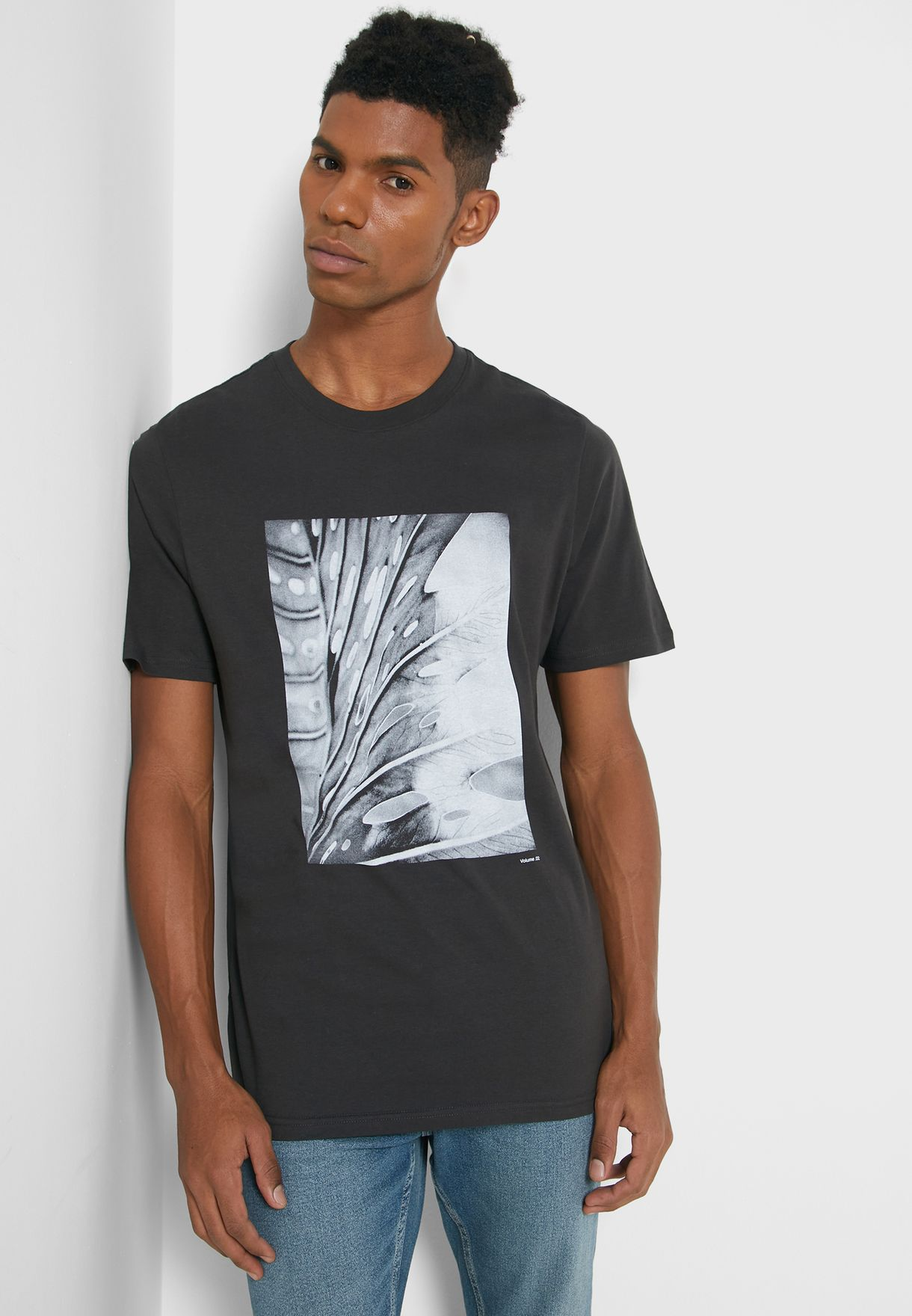 Leaf Print Crew Neck T-Shirt