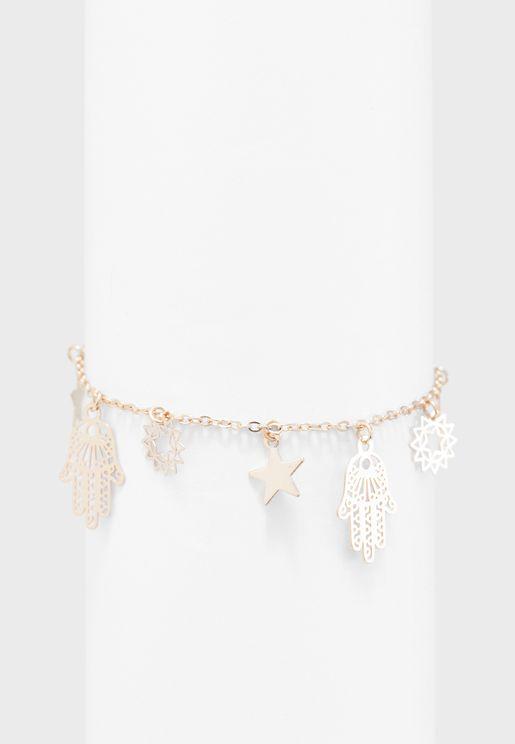 Hamza Charm Drop Bracelet