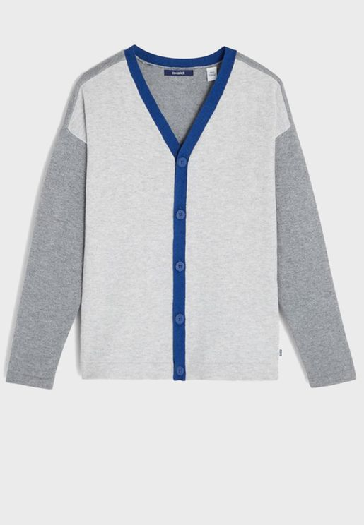Youth Color Block Cardigan