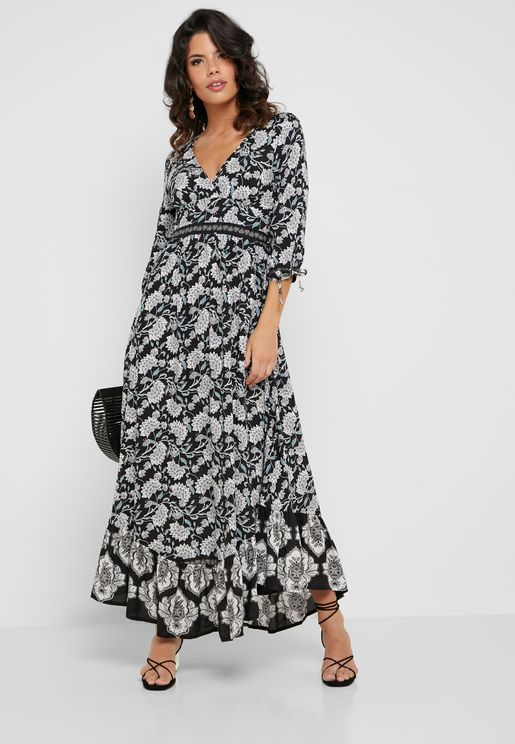Printed Wrap Front Ruffle Hem Maxi Dress