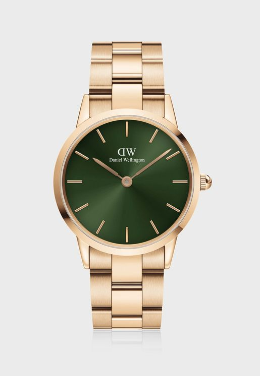 Iconic Link Emerald Rose Gold Watch, 36mm