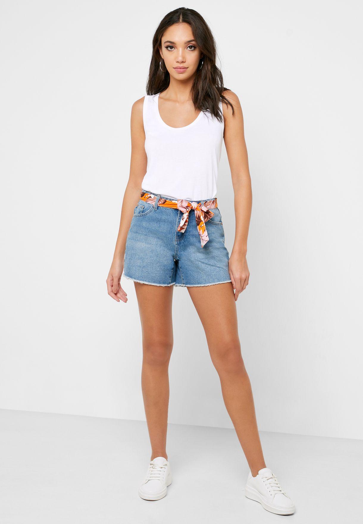 Scarf Belt Denim Shorts