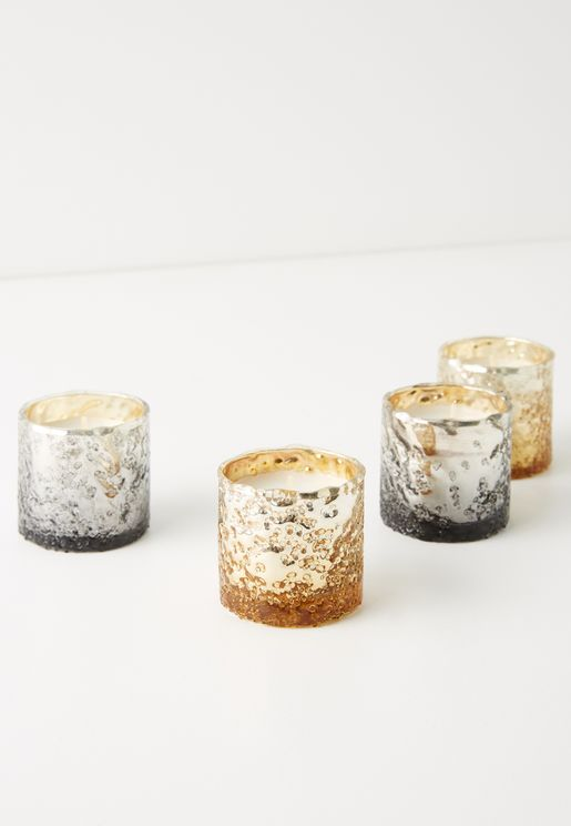 Set of 4 Mercury Textured Metallic Votive Giftset - Vanilla