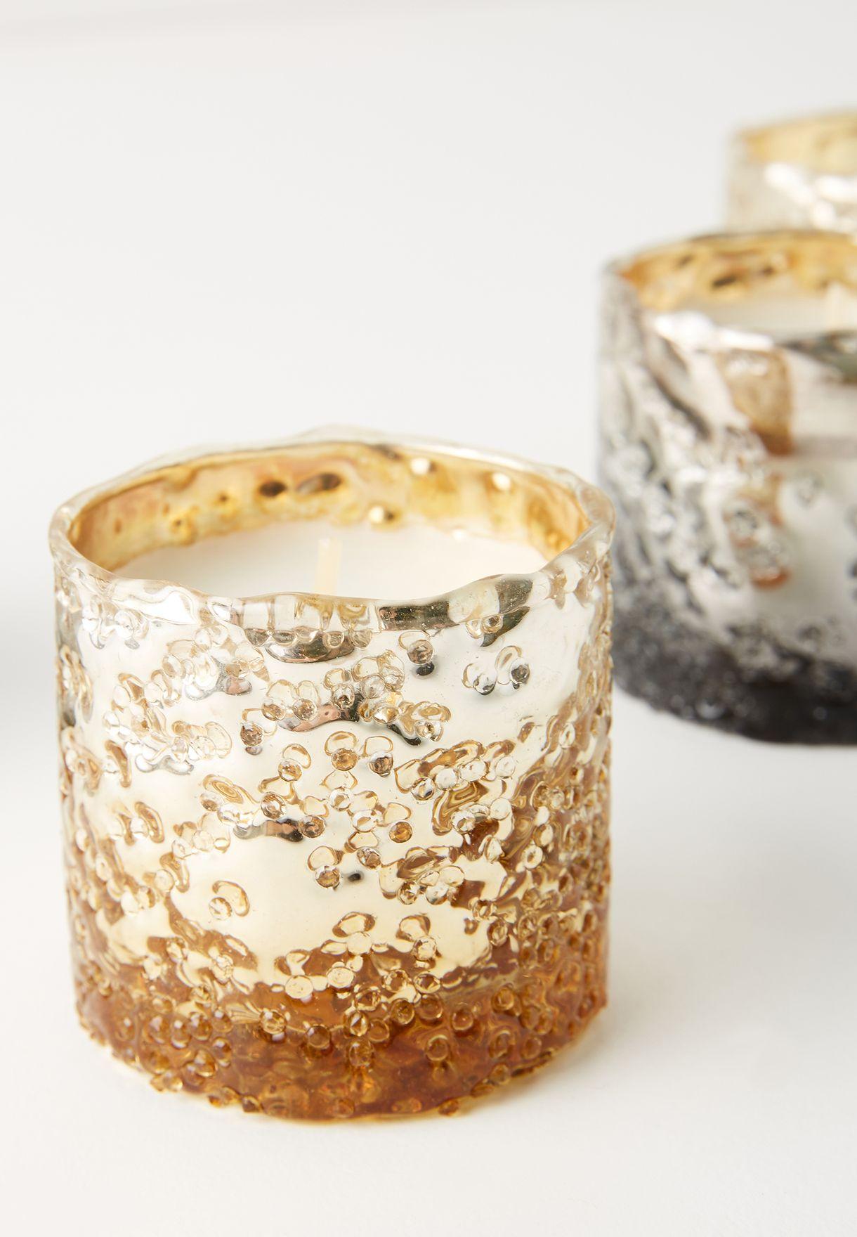 Mercury Textured Metallic Votive Giftset - Vanilla