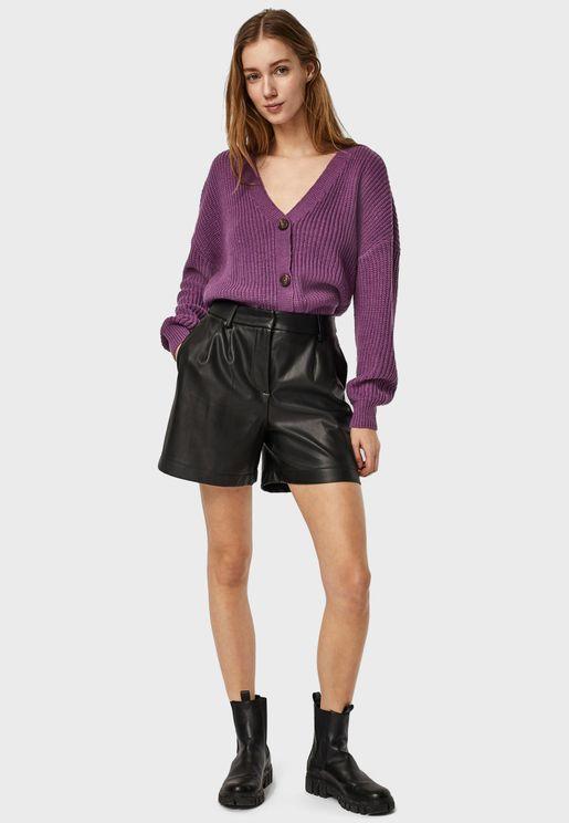 High Waist Pu Shorts