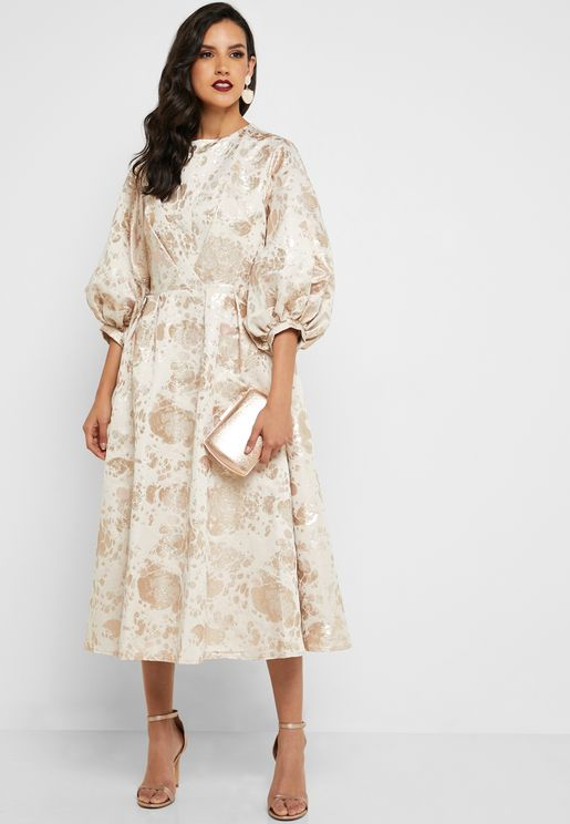 Puffed Sleeve Jacquard Dress