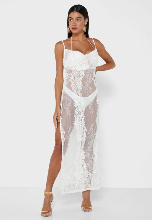 فستان بحر بياقة منسدلة