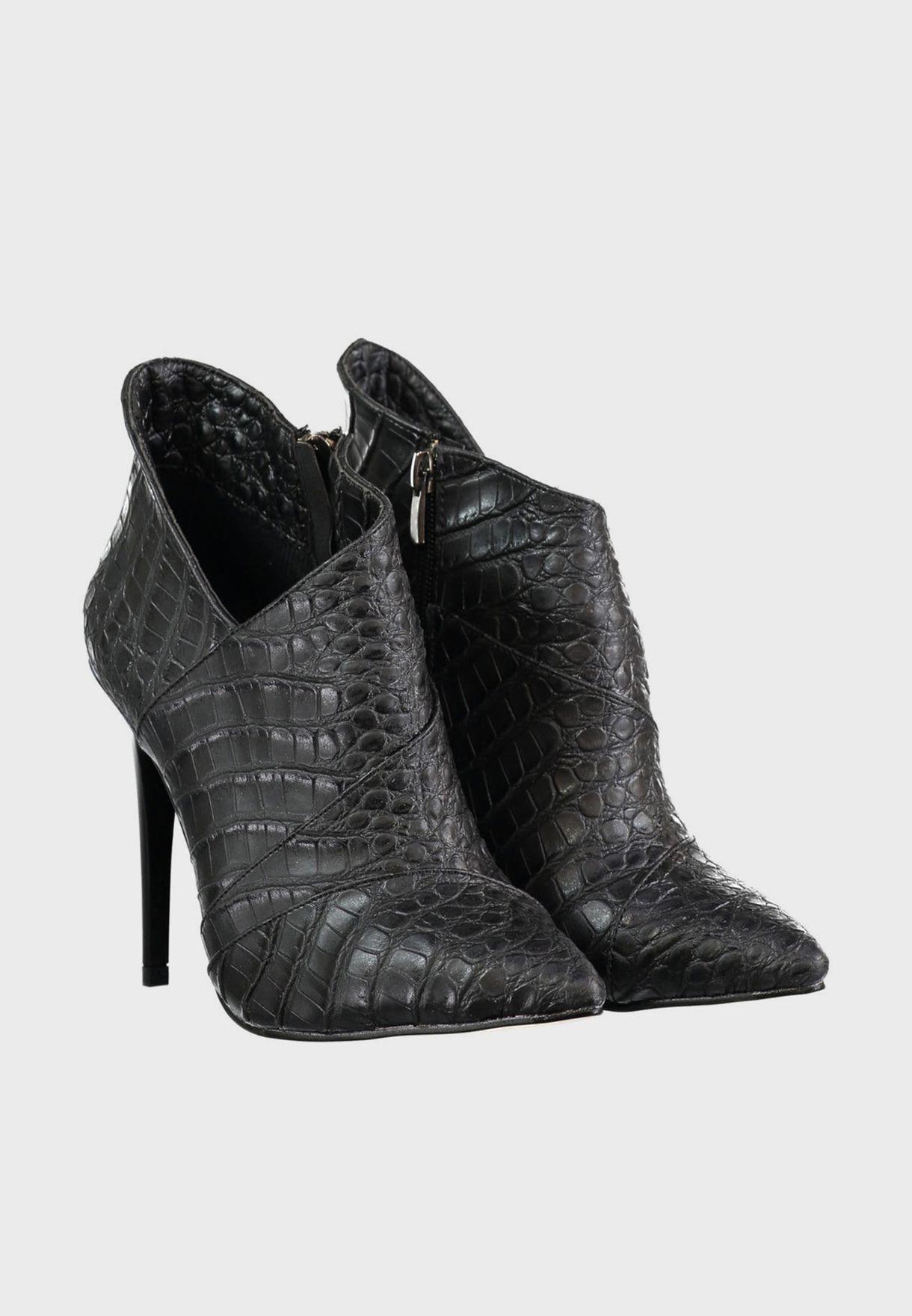 Siyah Croc Detail Zip Through Ankle Boot