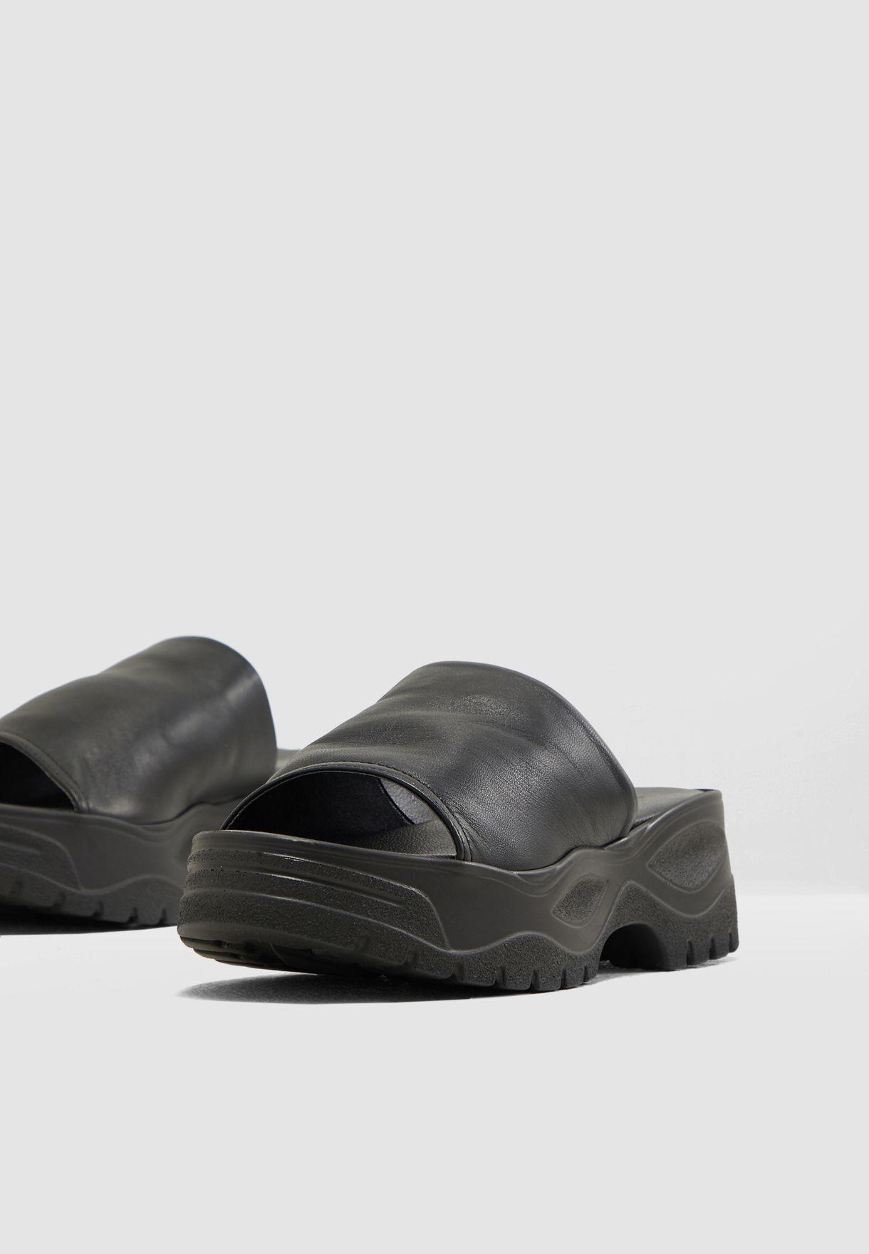 cbb07d82ebaf Shop Topshop black Volt Flat Sandal - Black 32V01QBLK for Women in ...