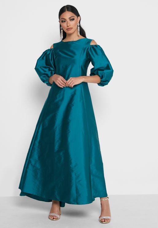 Cold Shoulder Puff Sleeve Taffeta Dress