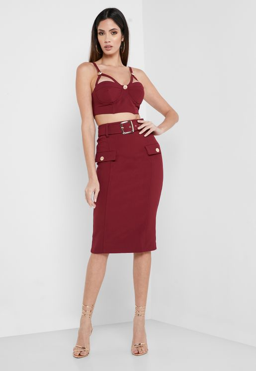 Belted Pocket Detail Bodycon Skirt