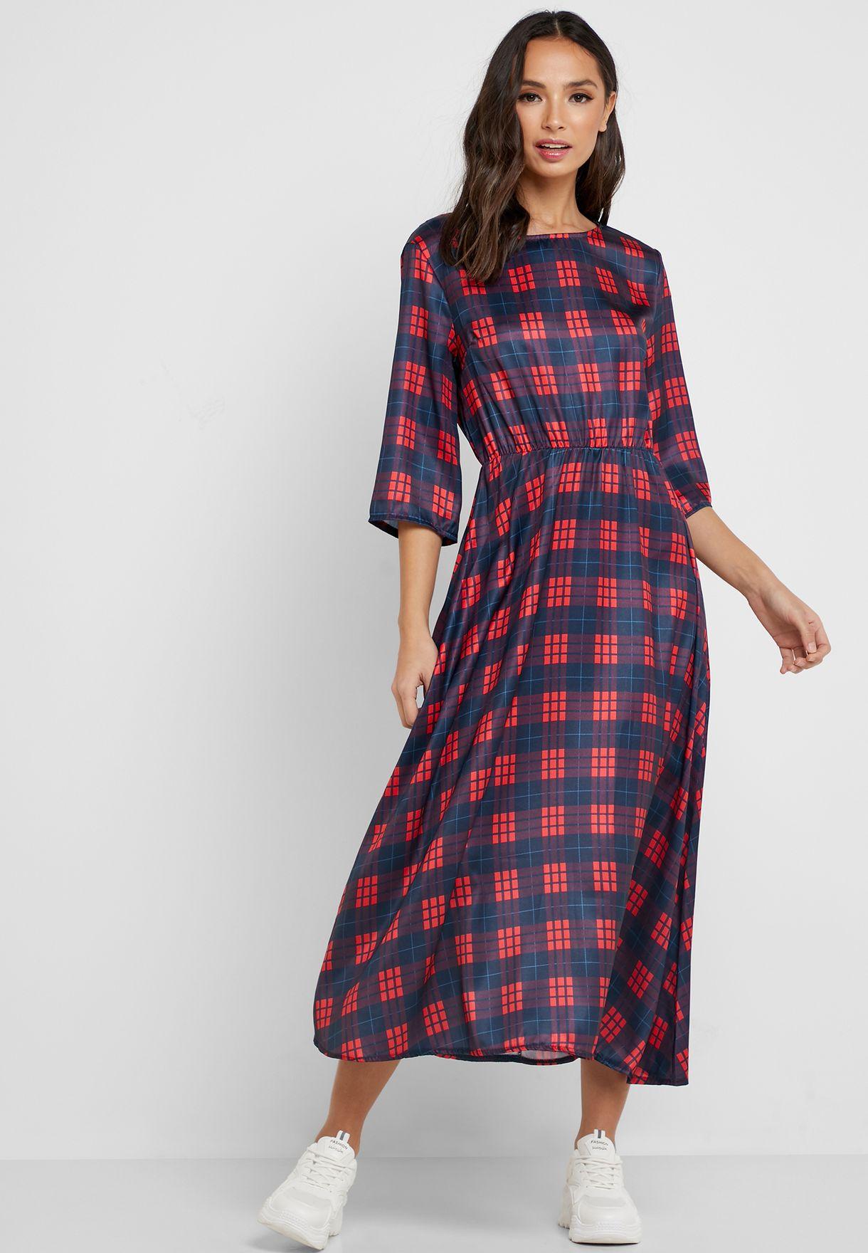 Checked Midi Dress