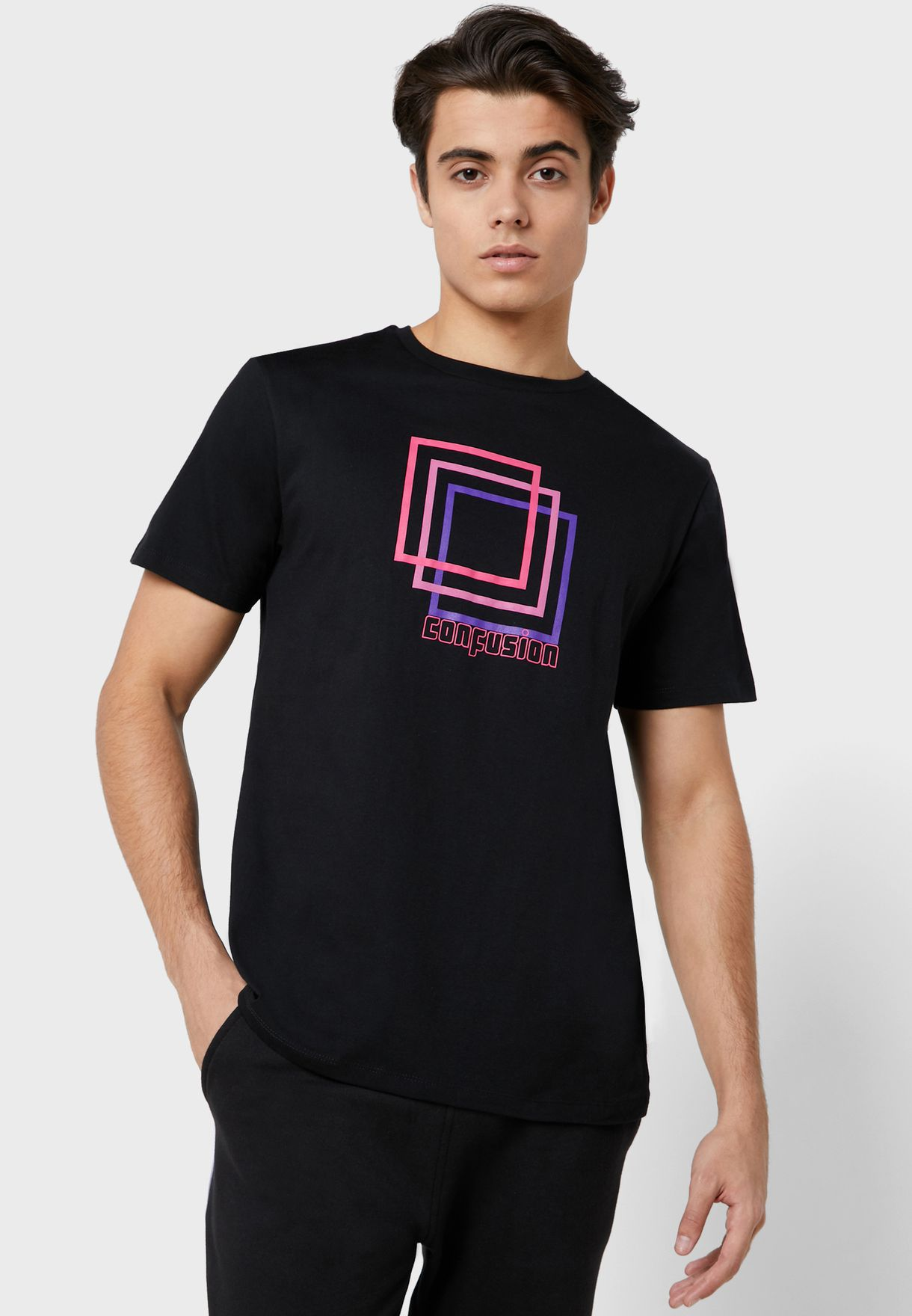 Confusion Print T Shirt