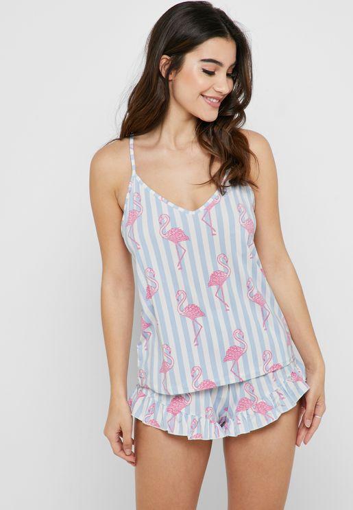 Flamingo Cami Top & Shorts Pyjama Set