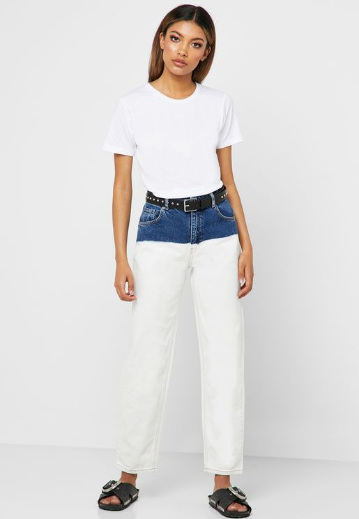 Bleached Straight Jeans