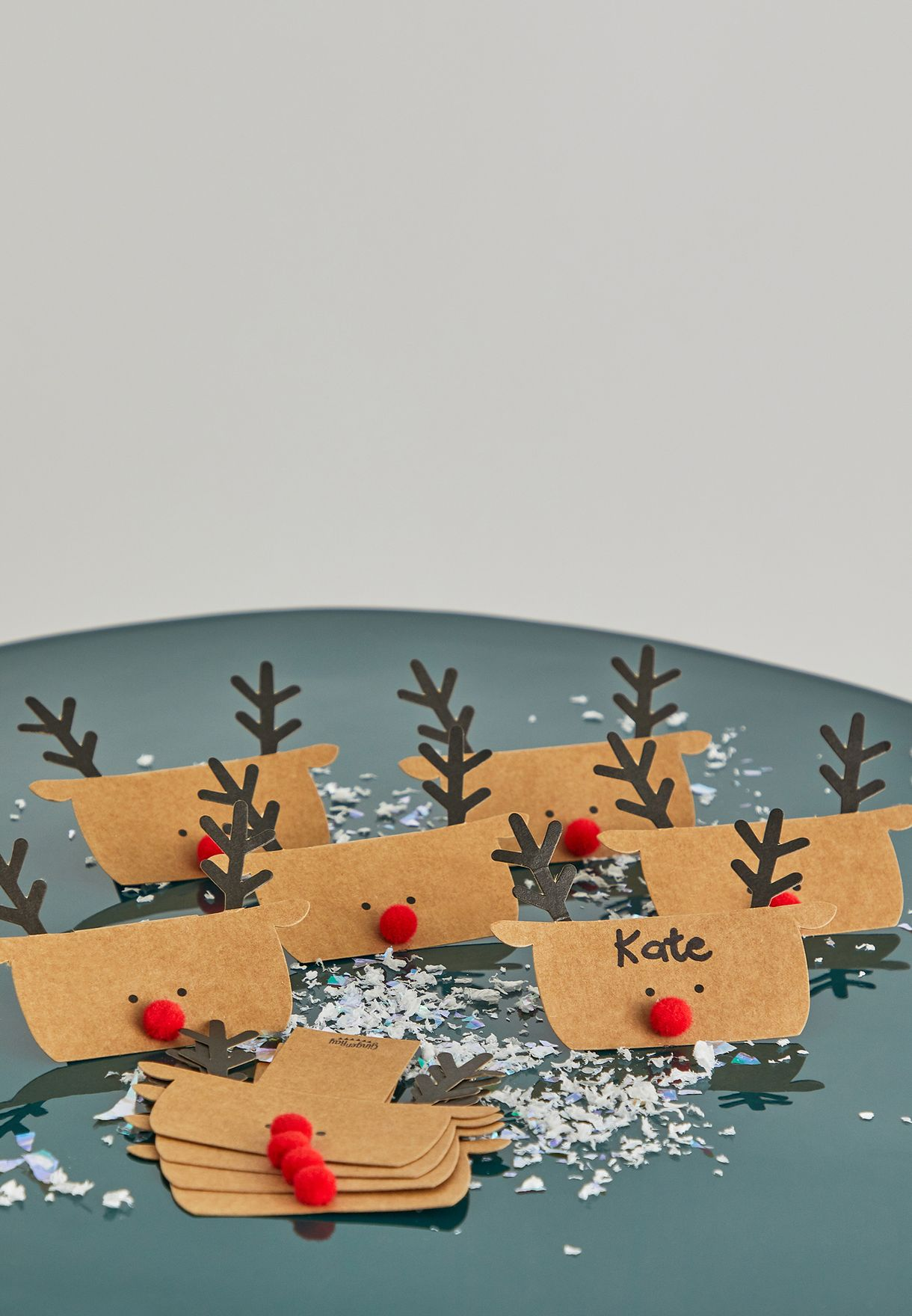 10 Pack Reindeer Shaped Christmas Place Card Set