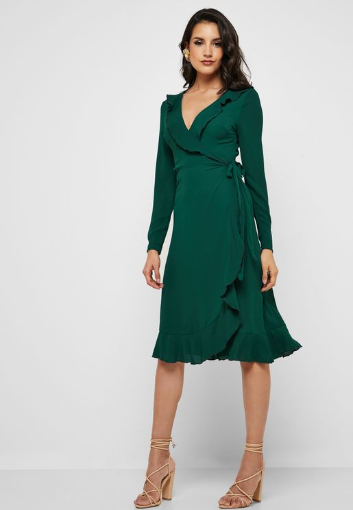 Wrap Frill Detail Dress