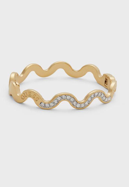 Pave And Logo Waves Bracelet
