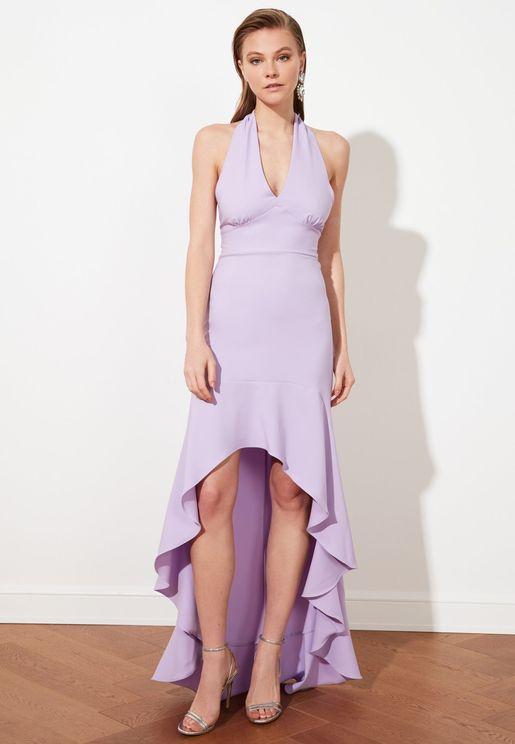 High Low Ruffle Detail Dress