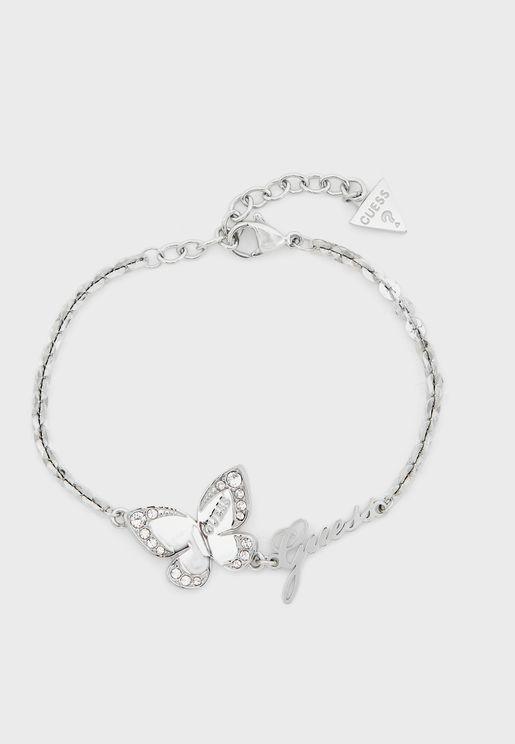 Butterfly Station Charm Bracelet