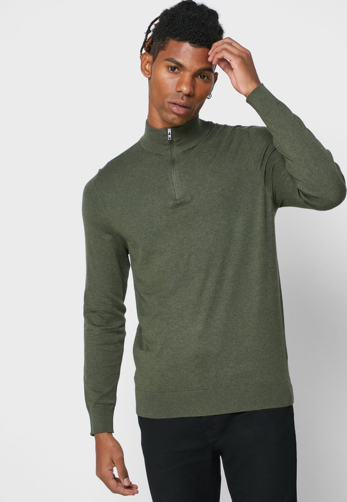 Half Zip Knitted Sweater