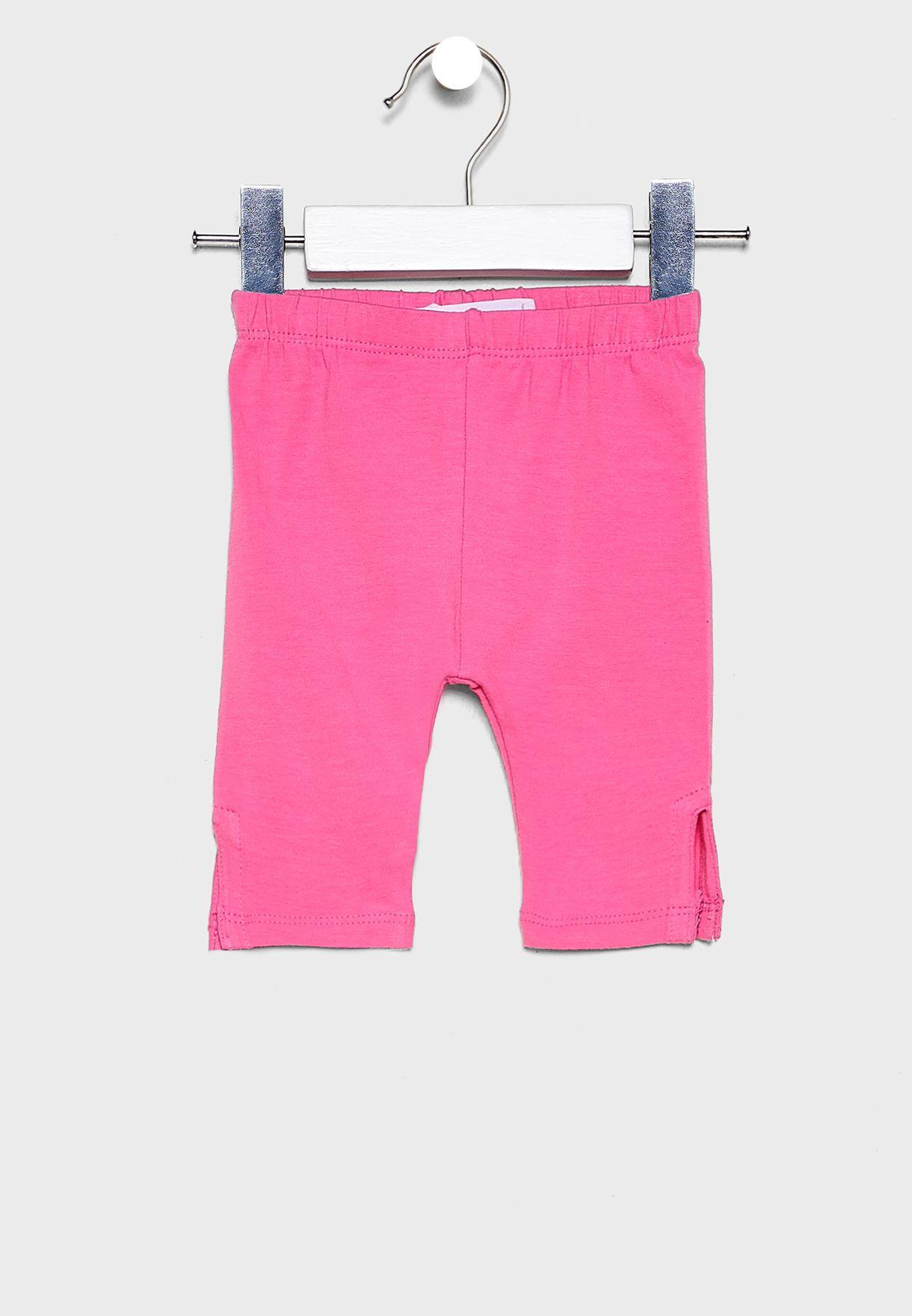 Infant Pom Pom Detail Printed Dress+Legging Set