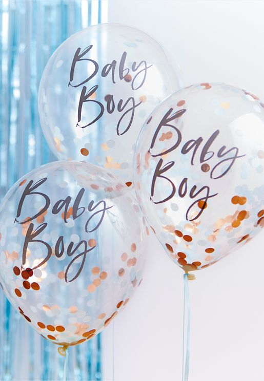 Confetti Balloons - Baby Boy - 5 Pack