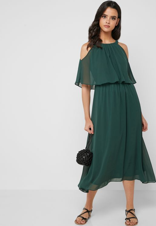 Layered Cold Shoulder Midi Dress