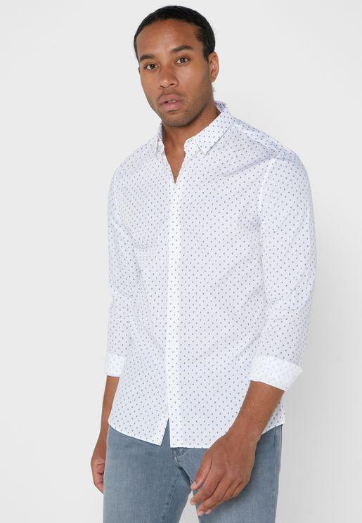 Mini Column Print Slim Fit Shirt