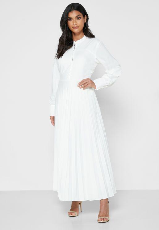 Pleated Pocket Detail Dress