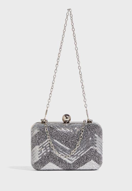 Chevron Sequin Clutch Bag