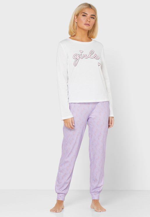 Slogan Top Pyjama Set