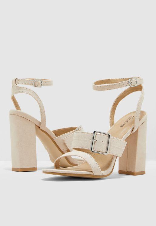 Block Heel Buckle Detail Sandal