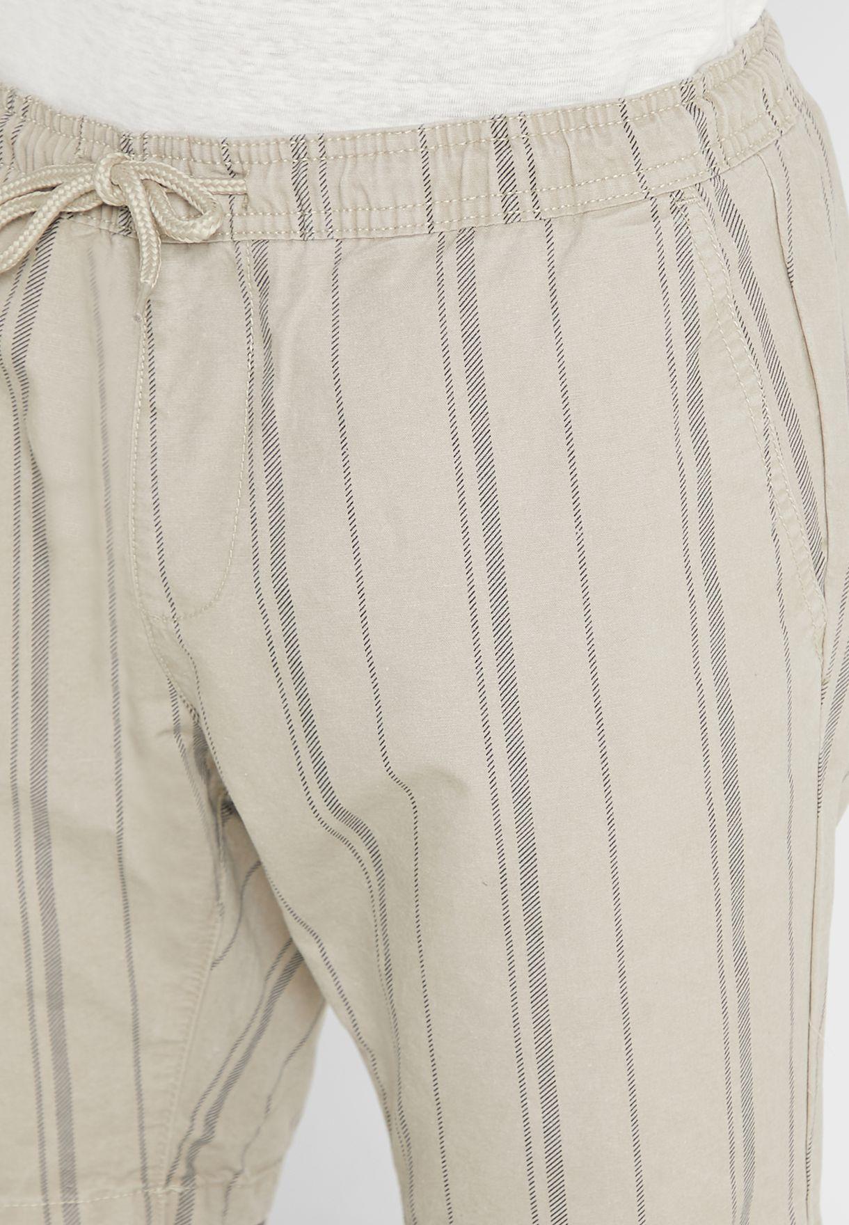 Striped Turn Up Hem Shorts
