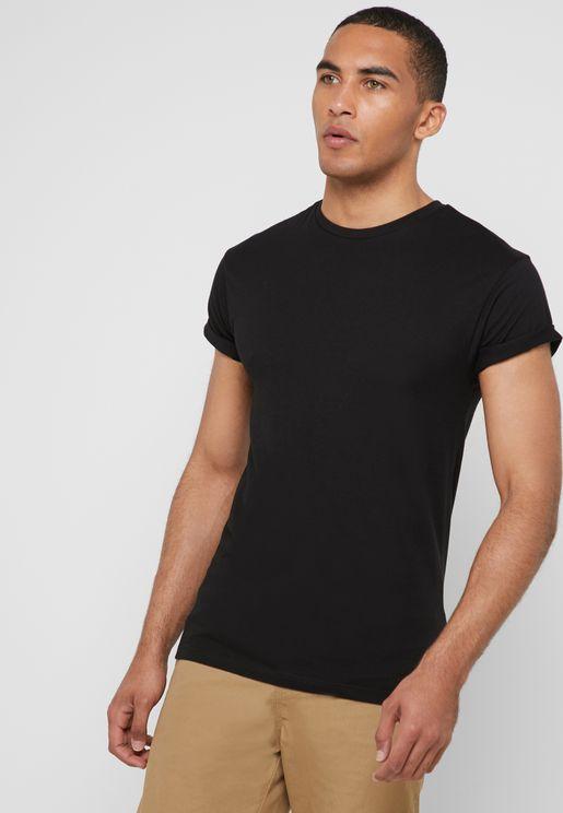 Roller Sleeve Crew Neck T-Shirt