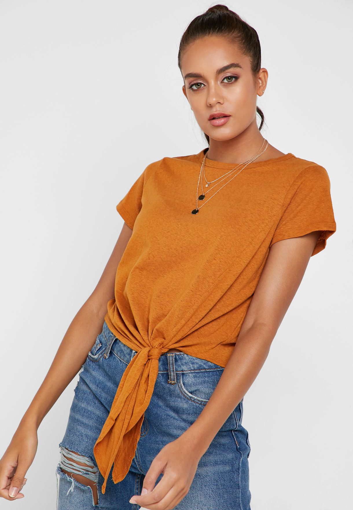 Shop Forever 21 Yellow Front Tie T Shirt 284461 For Women In Kuwait