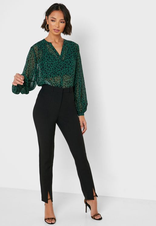 Front Slit Tailored Pants