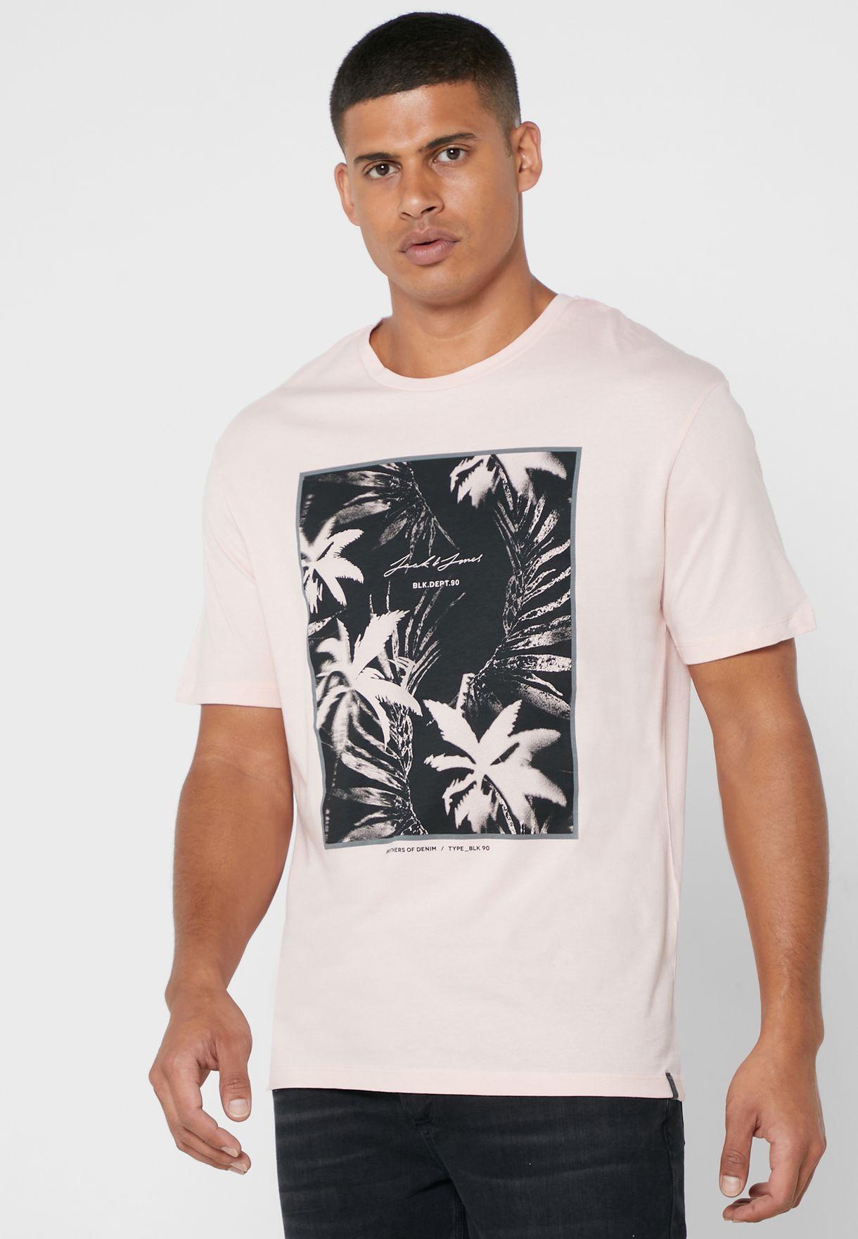 Palm Print Crew Neck T-Shirt