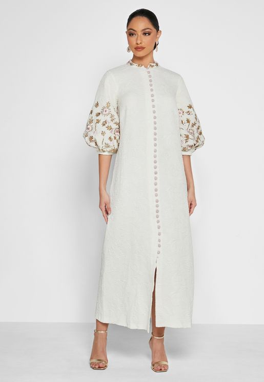 Embellished Sleeves Button Down Dress