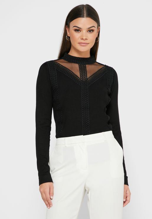 Sheer Detail Lace Sweater