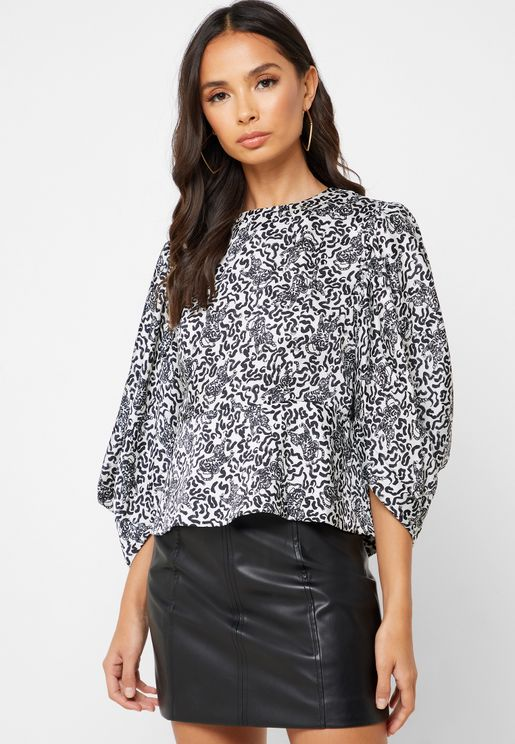 Animal Print Wide Sleeve Top