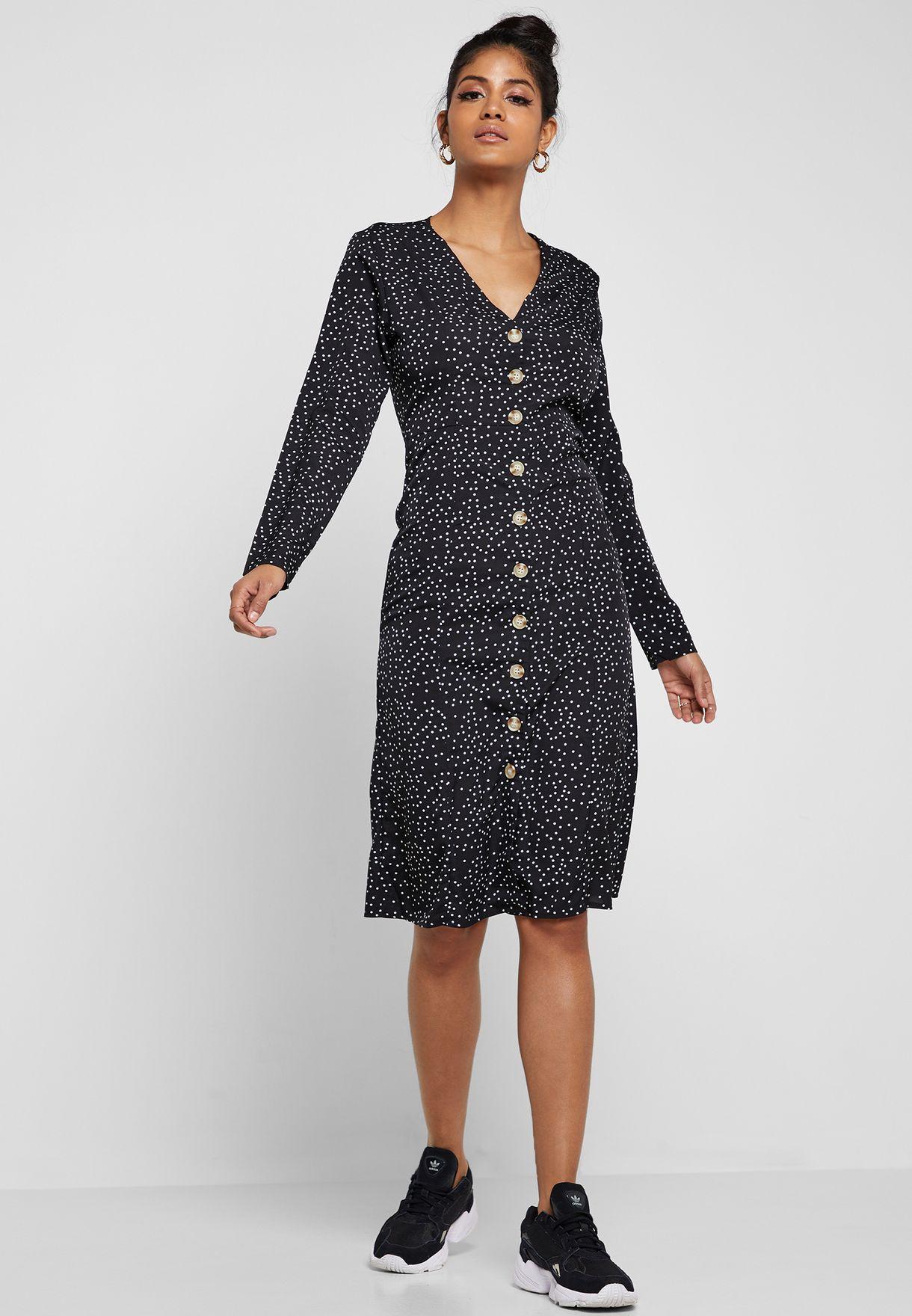 Polka Dot Button Down Midi Dress