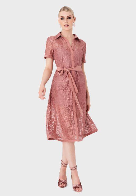 Tie Waist Lace Shirt Dress