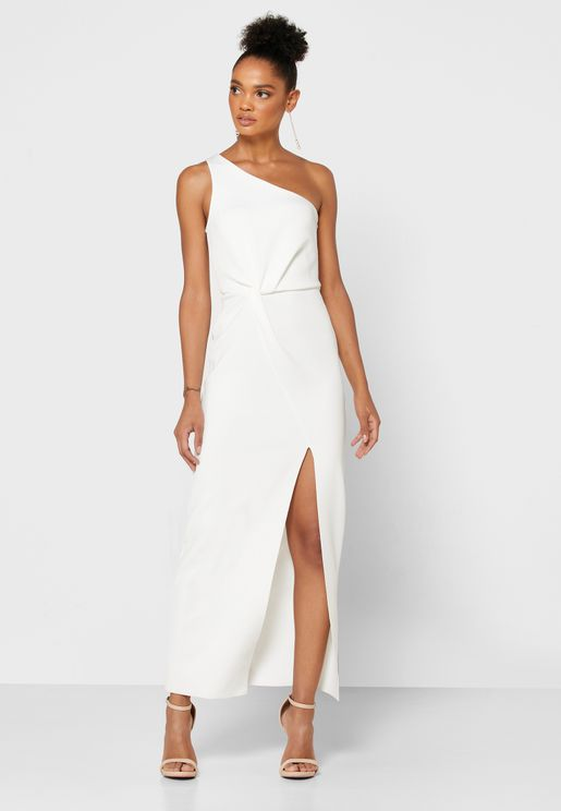 One Shoulder Front Split Dress