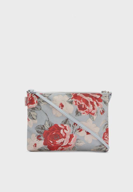 Top Zipped Rose Printed Crossbody