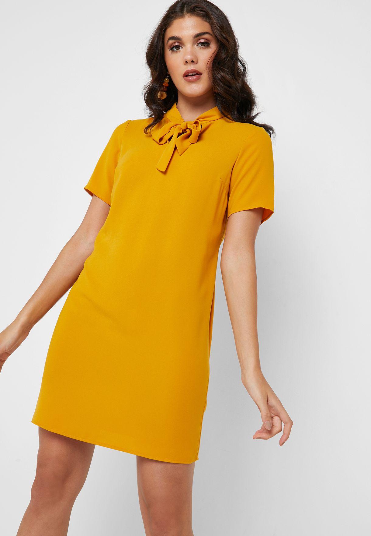 Tie Neck Short Sleeve Dress