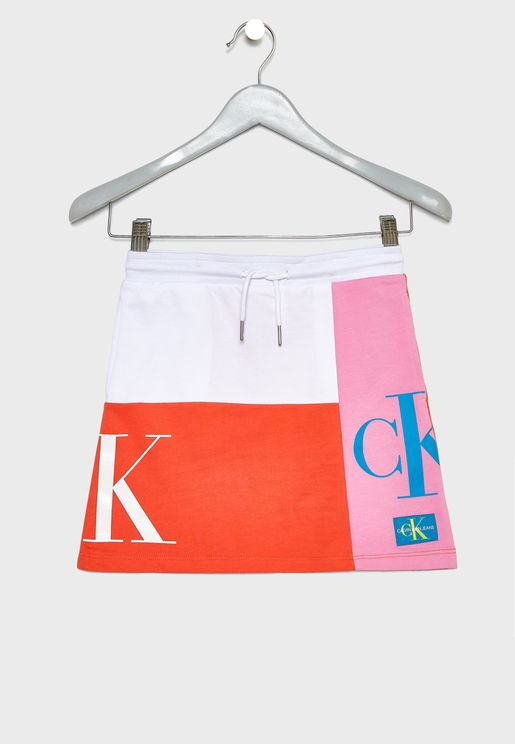 Kids Color Block Monogram Skirt